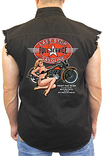 SHORE TRENDZ Men's Sleeveless Denim Shirt Last Stop Full Service Gasoline Biker Vest: Black (XXL) (Unisex Marathon One Top Pocket)