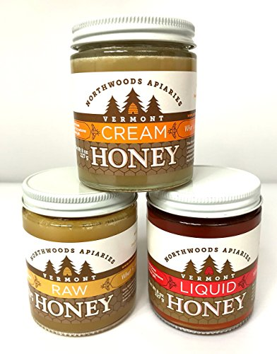 Vermont Raw, Cream and Liquid Honey 3 Pack 8oz Jars (Valley Champlain Honey)