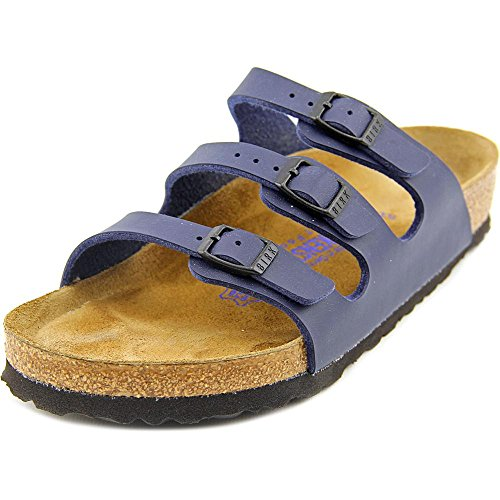 Birkenstock Women's Florida Soft Footbed Birko-Flor  Navy Sandals - 39 M EU