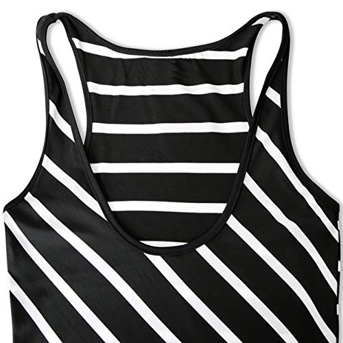 WESIDOM Maxi Dress for Women,Striped Sexy Sleeveless O-Neck Ankle-Length Casual Sundress, Party Long Dresses for Women Black by WESIDOM (Image #6)