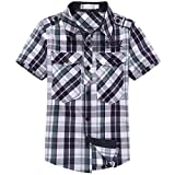 Upstree Summer Boys Short-Sleeve Shirt Children Plaid Shirt Clothing Green Plaid 6