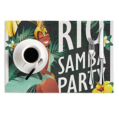 PVC Placemats Set of 2 Brazilian Samba Dancer Carnival in Rio de Janeiro Girls-Wearing a Festival Costume is Dancing Heat-Resistant Non-Slip Kitchen Tablemats for Dining Table]()