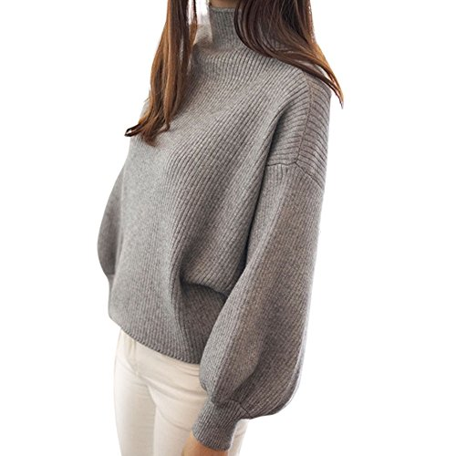 Birdfly Ladies' Pure Color Half-High Neck Loose Lantern Sleeve Sweater for Women (Gray)