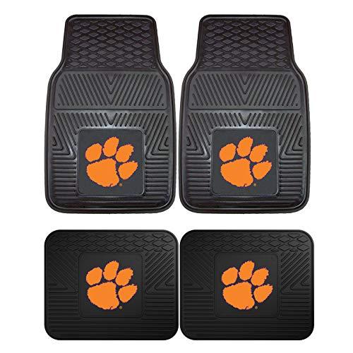 Clemson Tigers NCAA 4pc Floor Mat Sets (Front and Rear) - Heavy Duty-Cars, Trucks, SUVs (Clemson Tigers Mat)