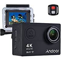 Sports Camera, Andoer Action Camera AN6000 40m Waterproof 4K 16MP Wireless Ultra HD 170° Wide Angle Lens with Remote Control 2 LCD Support 4X Zoom Diving Slow Motion Drama Photo