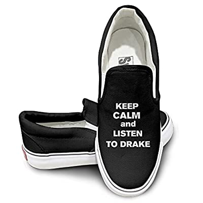 ZHEME Keep Calm And Listen Music Sportstyle Unisex Flat Canvas Shoes Sneaker Black