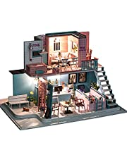 DIY Miniature Doll House,Decdeal Miniature Super Mini Size Doll House Building Model Kits Wooden Furniture Toys DIY Dollhouse Pink Cafe