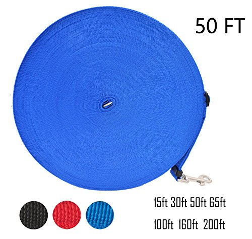 Zhixuanke 1in wide by 15ft 30ft 50ft 100ft 200feet long Nylon Training Leash - For Large,Medium and Small Dogs - Long Lead - Great for Training, Play, Camping, or Backyard (50 FT Blue, Blue)