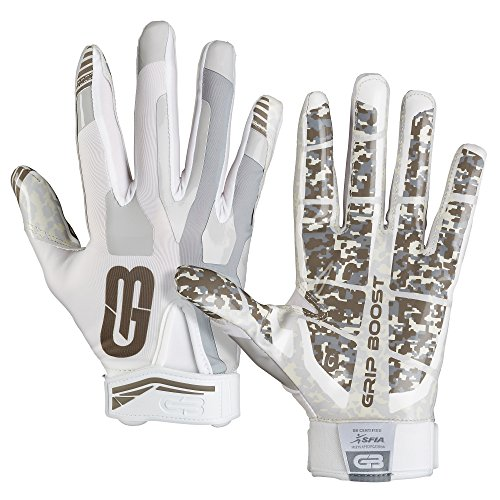 Grip Boost Stealth Football Gloves Pro Elite (White, Medium) (Double Receiver Football Gloves Grip)