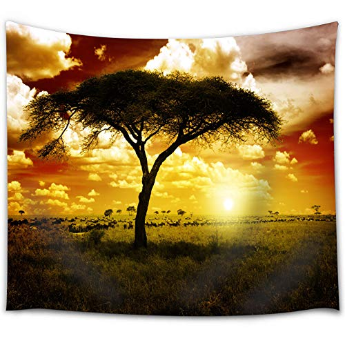 (BROSHAN African Safari Tapestry, Nature Tree Wildlife Silhouette Tapestry Wall Hanging Romantic Sunset Wall Art Fabric for Bedroom Living Room, 52 x 60 Inch Long)