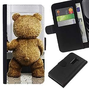 KLONGSHOP // Tirón de la caja Cartera de cuero con ranuras para tarjetas - Divertido lindo del oso - LG G2 D800 //