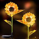 "Apipi 2 Pack Solar Sunflower Lights- 31"" Sunflower Garden Stake Lights Outdoor Solar Powered LED Light for Garden Patio Lawn"