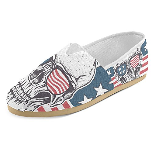 American Flat Glass (InterestPrint Women's Loafers Classic Casual Canvas Slip On Fashion Shoes Sneakers Mary Jane Flat USA Flag Skull With Glasses)