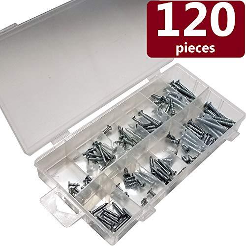 (Blue Donuts BDKL12120 Screws Assortment - Stainless Steel Round Flat Phillips Head Screw Set, Pack of 120)