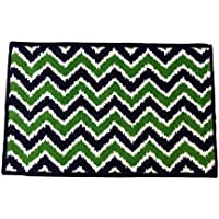 Bacati Mix N Match Ikat Zigzag Nylon High Pile Plush Rug, Navy/Green, 24 X 36