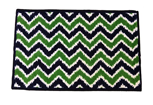 Bacati Mix N Match Ikat Zigzag Nylon High Pile Plush Rug, Navy/Green, 24