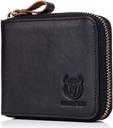 (Men's RFID Blocking Wallets,Genuine Leather Short Zip-around Wallet for Men Cowhide Leather Zipper Credit Card ID Bifold Purse Card Holder (Black))