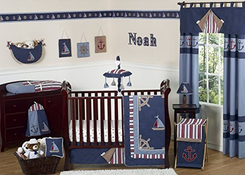 Sweet Jojo Designs 11-Piece Nautical Nights Blue and White S