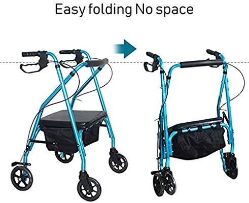 HMHD Plegable Andador para Ancianos de 4 Ruedas | Asiento y ...