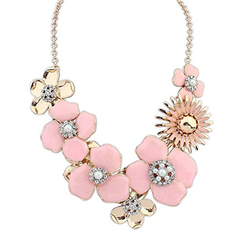 Asian Princess Barbie Costumes (The Starry Night Easy Dressing Multi Petals Gold Plated Sweet Pink Flower Princess Necklace Suitable Womens Girls)
