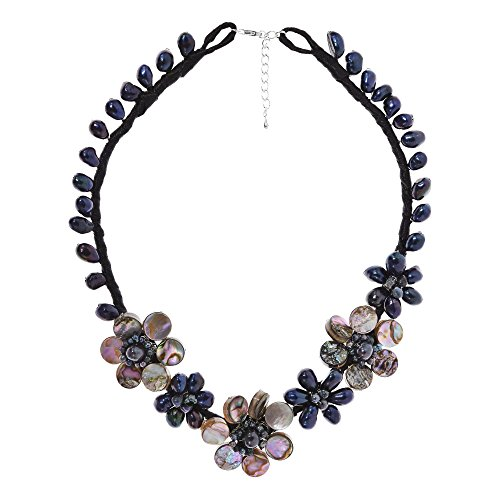 Handmade Abalone Shell and Cultured Freshwater Pearl Floral Beaded Necklace - Abalone Cultured Pearl Necklace