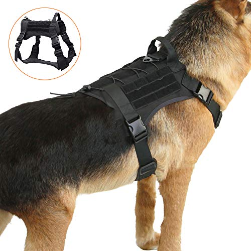 PG.KINWANG Dog Harness No-Pull Pet Harness Adjustable Outdoor Pet Vest, 1000D Heavy Duty Nylon with Ripstop Design Outside, Water- Resistant Comfortable for Small Medium Large Dogs  ()