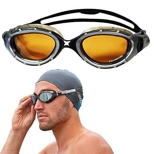 - Zoggs Predator Flex Ultra Polarized 2.0 Swimming Goggles No Leaking Anti Fog UV Protection Triathlon Silver-Black/Bronze
