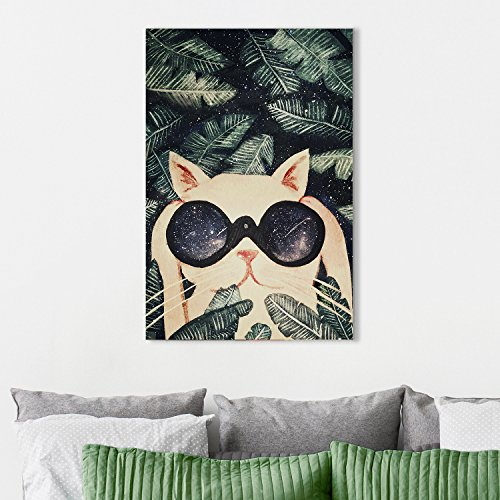 Vintage Watercolor Style Cat with a Cool Telescope Under Starry Night with Big Tropical Leaves