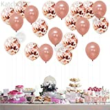 Large, Rose Gold Confetti Balloons Decorations – 18 Inch - Pack of 20 | Great for Bridal Shower Decorations, Birthday Party | Bridal Shower Balloons | Pre-filled Rose Gold Confetti Metallic Latex Balloons
