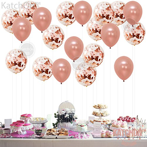 large rose gold confetti balloons decorations 18 inch pack of 20 great