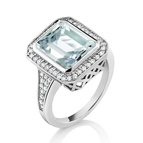5.00 Ct Women's 925 Sterling Silver Octagon Cut Created Aquamarine Ring (Ring Size 6)