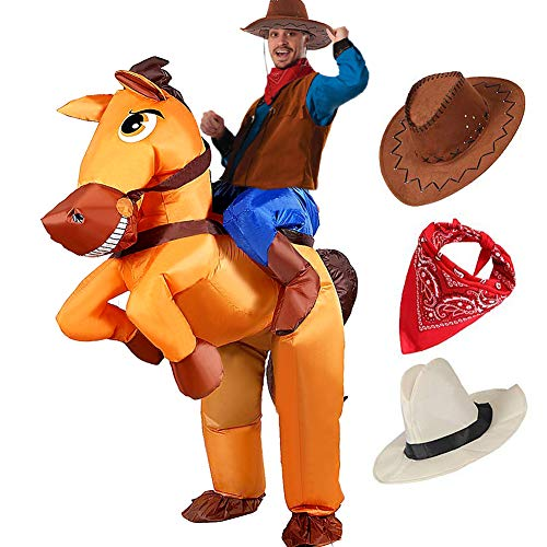 Qunan Inflatable Horse Costume Adults Blow Up Costume Fancy Party Dress with Cowboy Hat Halloween Costumes for Women Men