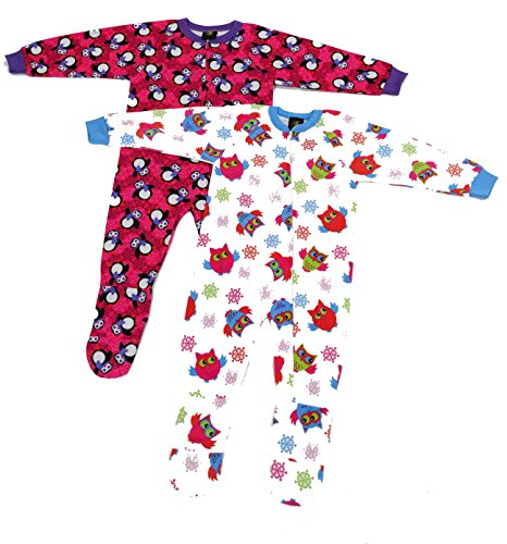 Just Love Footed Pajamas / Blanket Sleepers (Pack of 2),Penguin and Owl,Girls 5-6
