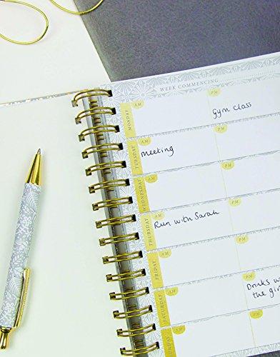 /4/sezioni linguette per Undated planner settimanale a DOS e adesivi metallici tasche appunti Vita organiser/ liste /lustre Gold Floral/ chiusura elastica