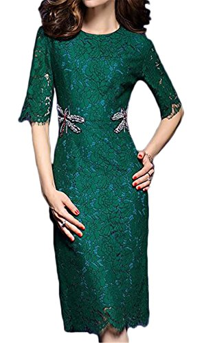 [Women's Fashion Dragonfly Diamond-Stud-Fitted Slim Fit Half Sleeve Lace Dress] (Puff The Green Dragon Dress)