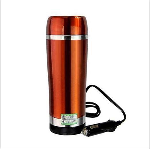Caldera eléctrica del coche que hiela 12 voltios que encendedor que encendía la taza de la calefacción El vacío aisló el acero inoxidable-Oro Cafetera de acero, 1: Amazon.es