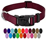 Country Brook Petz | Vibrant 21 Color Selection | Deluxe Nylon Dog Collar (Burgundy, Small, 3/4 Inch Wide)
