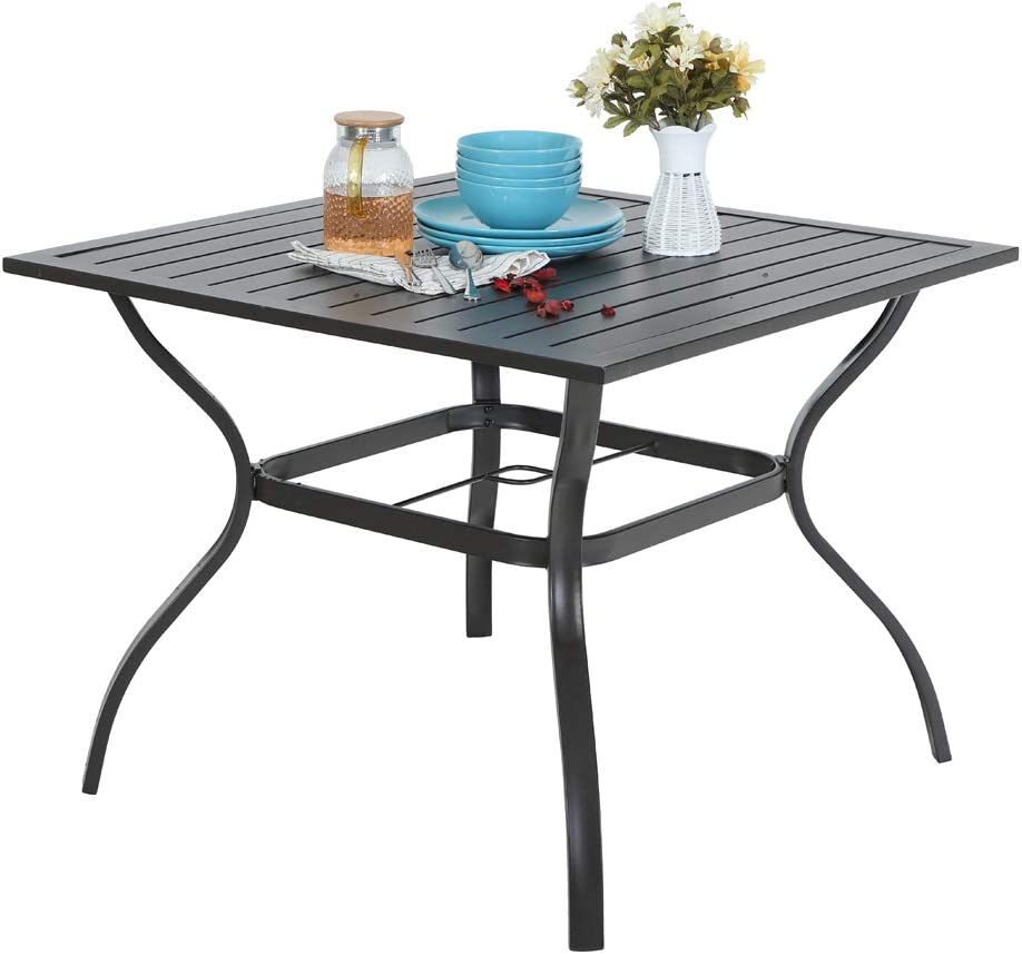 10xtable Ulax Furniture Outdoor Patio Dining Table Slatted with ...