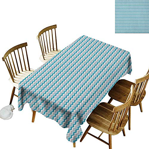 (kangkaishi Iron-Free Anti-fouling Holiday Long Tablecloth Table decorationZigzag Tribal Cross Geometric Abstract Triangles Symmetric Arrows Motif W70 x L120 Inch Grey White Petrol Blue)