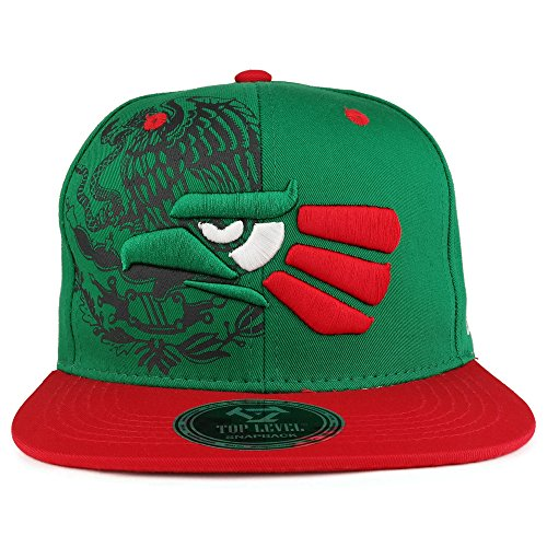 1b61dceb4 Hecho En Mexico Eagle 3D Embroidered Flat Bill Snapback Cap - Green RED