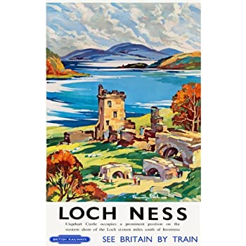 TU62 Vintage Loch Ness Urquhart Castle Railway Framed Travel Poster Print A3//A4