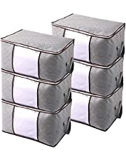 JERIA 6-Pack Extra Large Capacity Storage Bins with Clear Window, Closet Organizer and Clothes Storage Bags, 3 Layers Fabric, Great for Clothes, Blankets, Comforter and More (Grey)