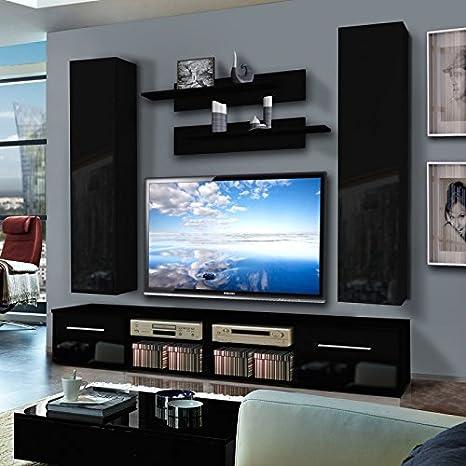 Paris Prix Mueble TV pared invento IV Twin 240 cm negro: Amazon ...