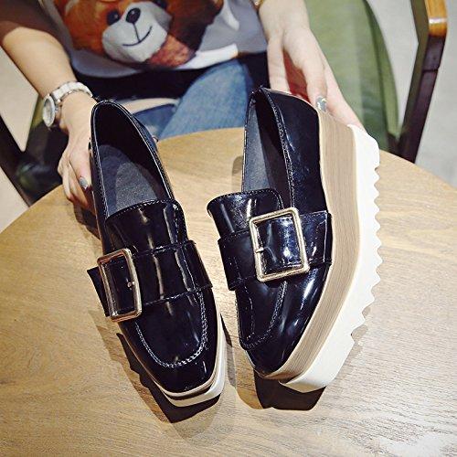 KPHY-Biskuitboden Dicke Schuhe Einzelne weibliche koreanische des Version des koreanische stilvollen metall schnalle Wild Party Kopf oben Schuhe 35 Schwarz - eadc0f