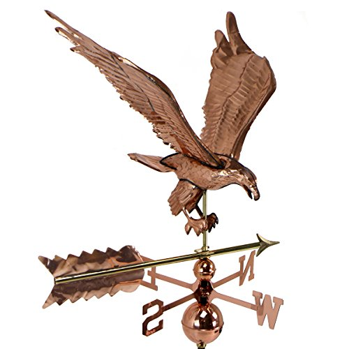 Weathervane Large, Polished Copper With Roof Mount (Eagle) (Large Steel Weathervane Roof Mount)