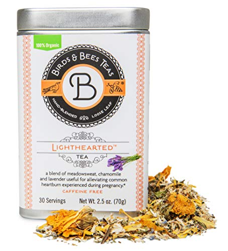 Birds & Bees Teas - Organic Heartburn Relief for Acid Reflux and Pregnancy Heartburn Tea - Lighthearted Tea is a Delicious Natural Remedy for Pregnancy Heartburn Relief, 30 Servings, 2.5 oz (Best Heartburn Medicine For Pregnancy)