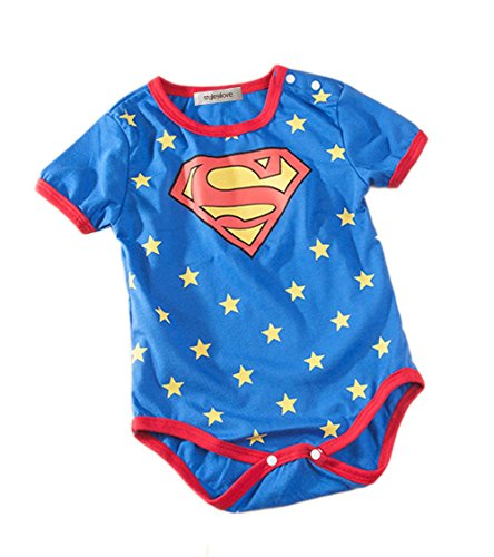 Superman All Blue Costume (Stylesilove Super Hero Baby Boy Costume Jumpsuit (95/18-24 Months, Blue Superman))