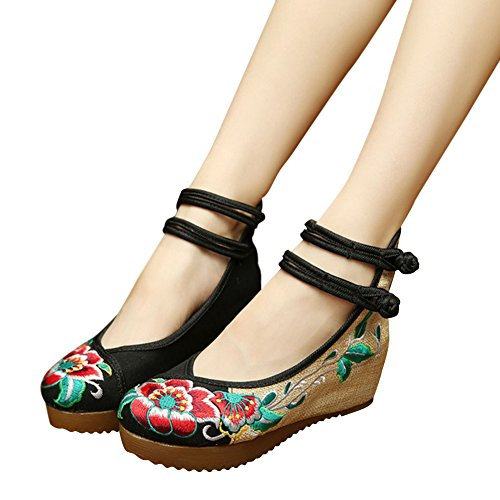 Hestio 5cm Hibiscus Flower Slope Womens Shoes Old Beijing National Embroidered Shoes Black dZJBz