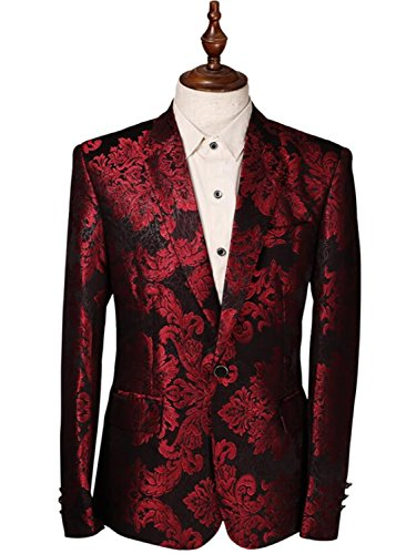 [Vazpue Suits Costume Homme Flower Print Blazer Jacket Wine Red Groomsmen Wedding Blazers Slim Fit Evening Party Dress Suit Blazer Masculino As] (Red Coat Army Costume)