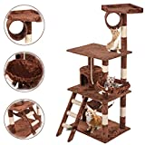 Dkeli Cat Tree Condo Furniture Activity Towers House Wood 64'' Multi-Level Cat Tree with Scratching Post Hammock Basket for Kitten,Cat,Pet (Brown)